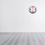 White wall with wooden gray floor and copyspace Royalty Free Stock Image