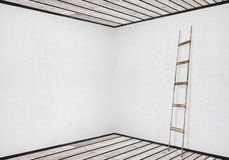 White wall with a wooden ladder Stock Image