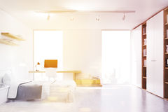 White walled bedroom with study corner, toned Stock Images