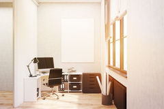 White walled office with poster, toned Royalty Free Stock Photos