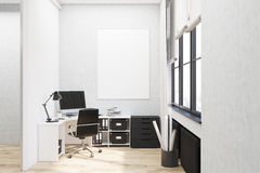 White walled office with poster Royalty Free Stock Photo