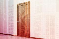White walled room with a wooden door double Royalty Free Stock Photography