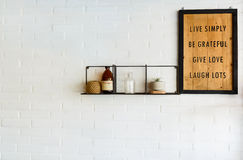 White wallpaper. Text in wood frame with white background Stock Photos