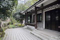 White walls of antique buildings and green plants,china Royalty Free Stock Photography