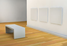 White walls art gallery or studio with viewing seat Royalty Free Stock Image