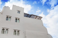 White walls and blue sky. Madina, Tangier, Morocco Royalty Free Stock Photo