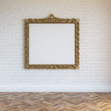 White Walls Brick Interior With Golden Carved Frame And Hardwood Stock Images