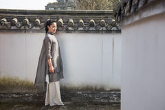 White walls and gray tiles-Chinese style architecture Stock Photo