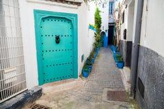 White walls and green door. Medina of Tangier, Morocco Royalty Free Stock Photos