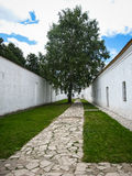White walls and green tree in Suzdal, Vladimir region, Russia Royalty Free Stock Photography