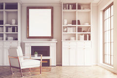 White walls living room and an armchair Royalty Free Stock Image