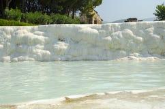 White walls of Pamukkale, Turkey Royalty Free Stock Photography