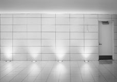 Walls and door in an underground montreal metro corridor. White walls in an underground metro station corridor. Contemporary interior design. This is part of the royalty free stock photos