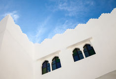 White walls, windows and blue sky. Madina, old part of Tangier, Stock Images