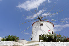 White washed mill. At Kos Greece Royalty Free Stock Photography