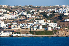 White washed mykonos. The coastline of greek island of mykonos with all the white washed houses clinging to the water Stock Images