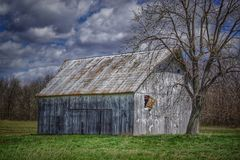 White Washed Old Barn With Tree Royalty Free Stock Photos