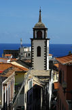 White washed spire. In Funchal, Madeira Islands Royalty Free Stock Image