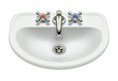 White washing sink. Retro white washing sink isolated on white background - 3D illustration royalty free illustration