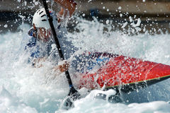 White water. A kayaker races through the rappids Royalty Free Stock Image
