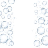 White water bubbles with reflection set vector illustration. Air drop glossy realistic bubbles liquid transparent design. Soap abstract bubbles sphere Royalty Free Stock Photos