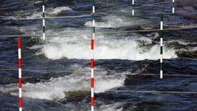 White water Canoe slalom course. Competition course set for canoe or kayak slalom race royalty free stock photo