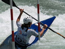 White water kayaking. Italian Canoe Championship, U-23 slalom,Piateda on the river Adda royalty free stock images