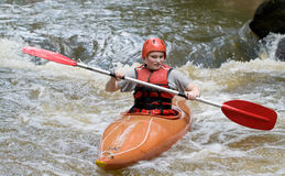 White water kayaking stock image
