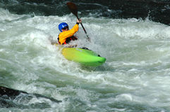 White water kayaking in the Potomac rapids at Great Falls, Maryland royalty free stock images