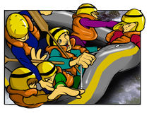 White Water Rafting vector illustration