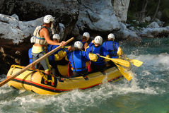 White water rafting on the rapids Stock Photo