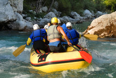 White water rafting on the rapids of river Stock Photography