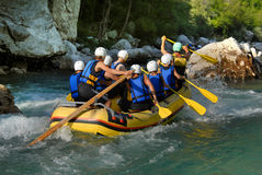 White water rafting on the rapids of river Stock Image