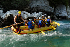 White water rafting on the rapids of river Stock Images