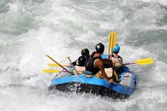 White water rafting on the rapids of river Yosino Royalty Free Stock Image