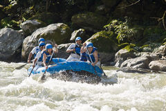White water rafting Zamora Ecuador royalty free stock photo