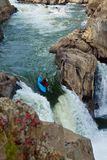 White Water Rapids Kayaker at Great Falls Virginia Stock Photos