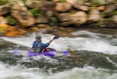 White Water Rifting. Kayaks and rafting a fun by dangerous sport. Paddle nature fun swift turbulence overturn Royalty Free Stock Image