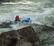 White Water Rifting. Kayaks and rafting a fun by dangerous sport. Paddle nature fun swift turbulence overturn Stock Image