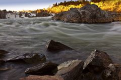 White water river in warm sunset light Stock Photos