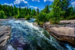 White water wilderness river and forest background. Surging white water rapids on wilderness river in coniferous forest with granite shoreline royalty free stock photography
