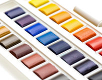 Watercolour palette closeup Royalty Free Stock Photography