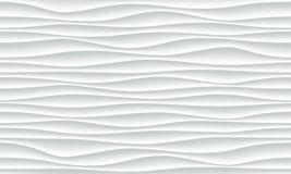 White wave pattern vector abstract 3D background. White wave pattern background with seamless horizontal wave wall texture. Vector trendy ripple wallpaper Royalty Free Stock Photo