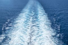 White Waves Formed Behind a Cruise Ship  1 Royalty Free Stock Images