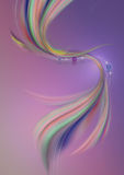 White wavy lines with bead and curved colored waves on a purple-pink background Royalty Free Stock Images