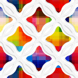 White wavy rectangles with rainbow and white net seamless patter Royalty Free Stock Image