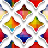 White wavy rectangles with rainbow on white seamless pattern Stock Photos