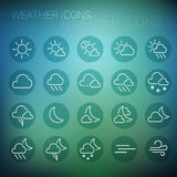 White weather icon set in dark circles and blurred background stock images