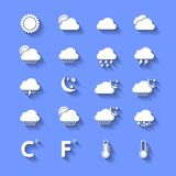 White Weather Icons With Shadows Royalty Free Stock Image
