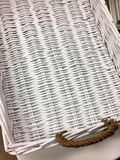 White weave basket with handles. A white weave basket with handles background Royalty Free Stock Image